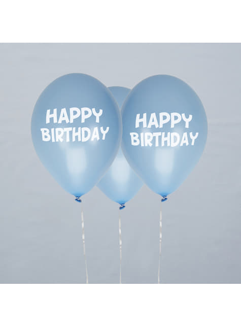 8 globos azules Happy Birthday (30 cm) - Blue Star