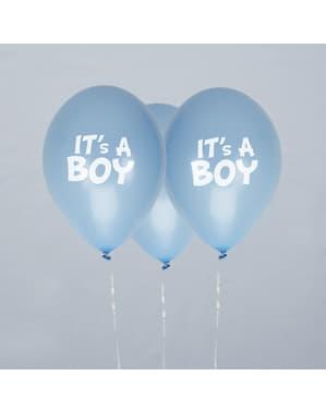 "Zestaw 8 niebieskie balony lateksowe ""It's a Boy"" - Little Star Blue"