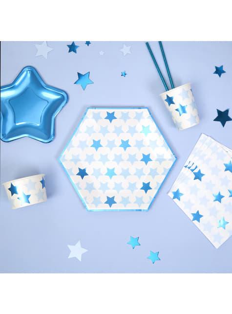 Set of 8 big hexagonal paper plates - Little Star Blue