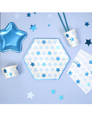 8 pratos grandes hexagonais de pape (27 cm) - Little Star Blue