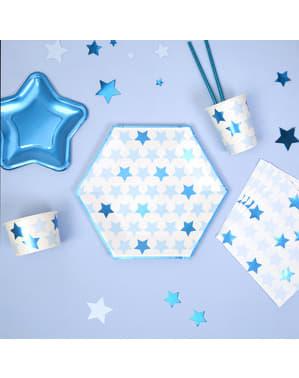 Sada 8 veľkých šesťuholníkových papierových tanierov - Little Star Blue