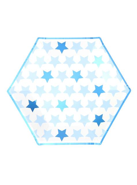 8 platos hexagonales (27 cm) - Blue Star - para tus fiestas