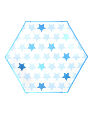 8 farfurii mari hexagonale de carton (27 cm) - Little Star Blue