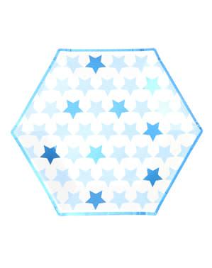 8 papperstallrikar stora hexagonala  (27 cm) - Little Star Blue