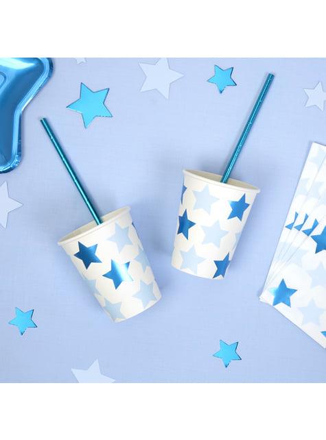 8 vasos con estrellas azules - Blue Star - para tus fiestas