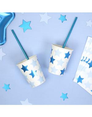 8 vasos con estrellas azules - Blue Star