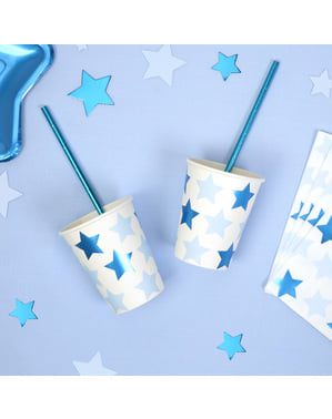 8 copos de papel - Little Star Blue