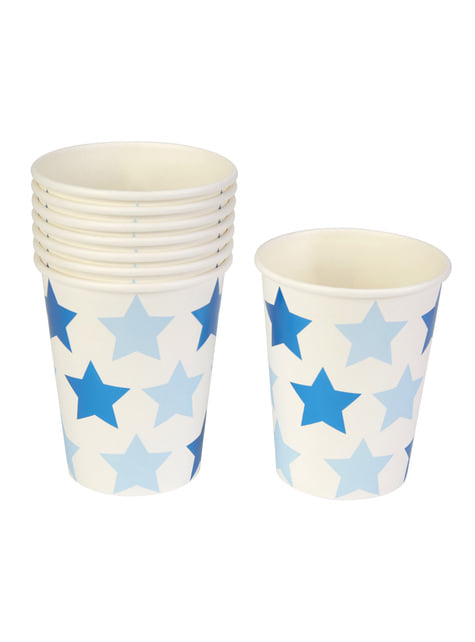 8 Paper Cups - Little Star Blue