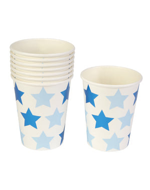 8 gobelets en carton - Little Star Blue