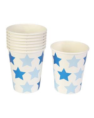Sada 8 papírových kelímků - Little Star Blue