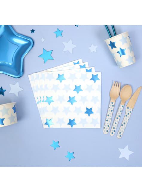Sett af 16 pappír servíettur - Little Star Blue