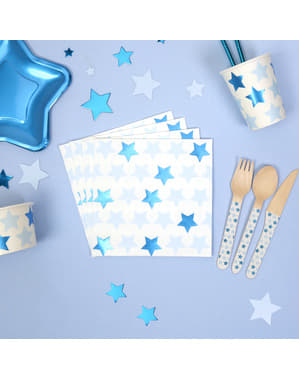 16 papieren servette (33x33 cm) - Kleine Blauwe Ster