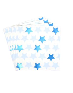 Zestaw 16 papierowe serwetki - Little Star Blue