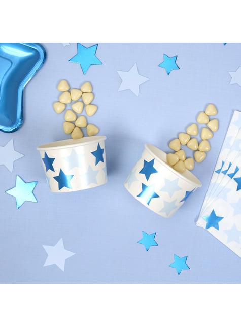 8 vasos pequeños con estrellas - Blue Star - para tus fiestas