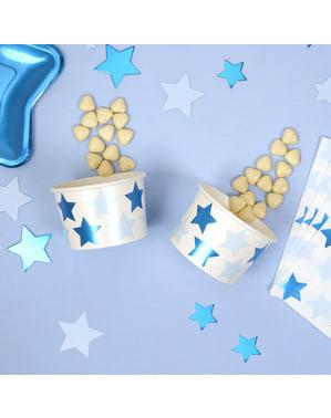 Sada 8 papierových pohárov - Little Star Blue