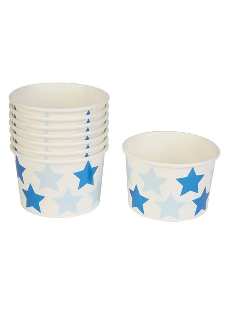 8 vasos pequeños con estrellas - Blue Star