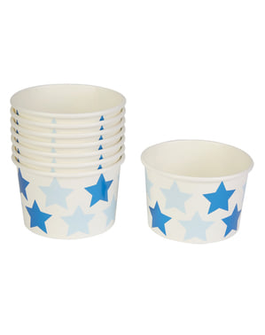 8 כוסות נייר - כוכב קטן כחול