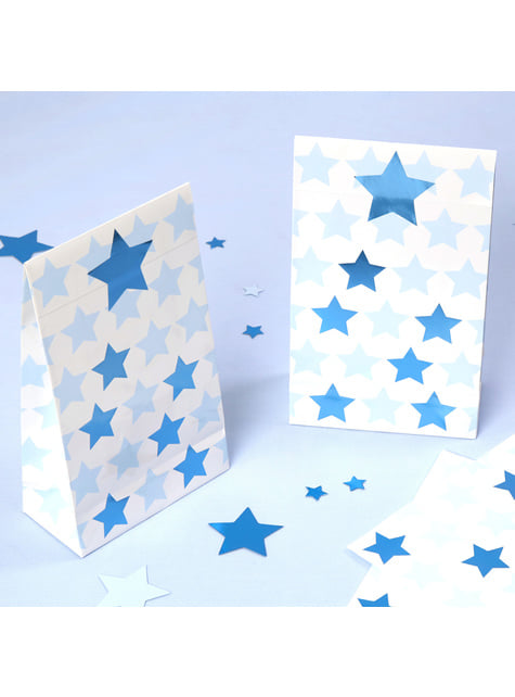 5 sacos de presente de papel - Little Star Blue