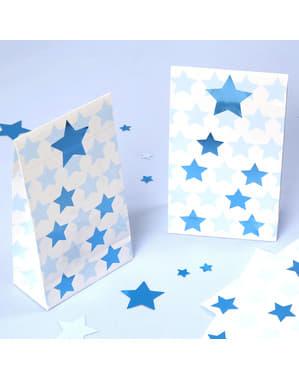 5 שקיות מתנה מנייר - כוכב קטן כחול
