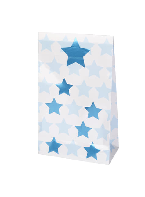 5 sachets cadeaux en papier - Little Star Blue