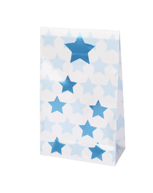 5 presentpåsar i papp - Little Star Blue