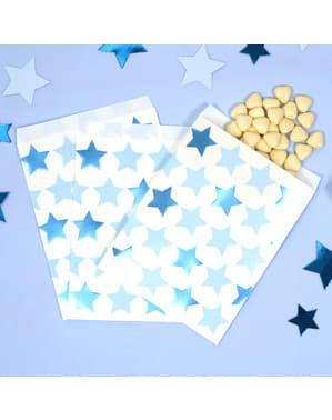 25 Χάρτινα Σακουλάκια - Little Star Blue