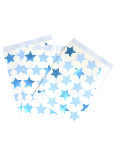 Set of 25 Paper Party Bags - Little Star Blue