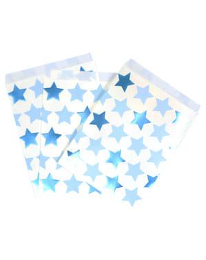 25 papieren feesttasjes - Kleine Blauwe Ster