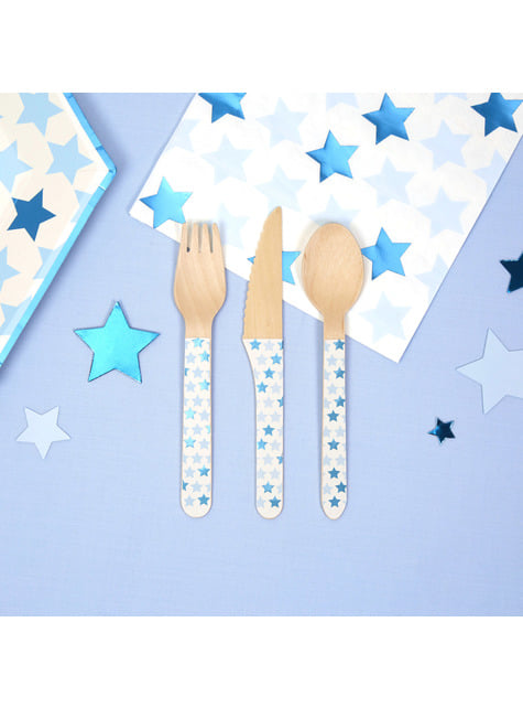 24 wooden cutlery pieces - Little Star Blue