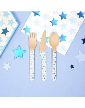 24 Τεμάχια Ξύλινα Μαχαιροπίρουνα - Little Star Blue