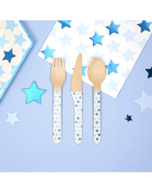 24 wooden cutlery pieces - Little Star Blue