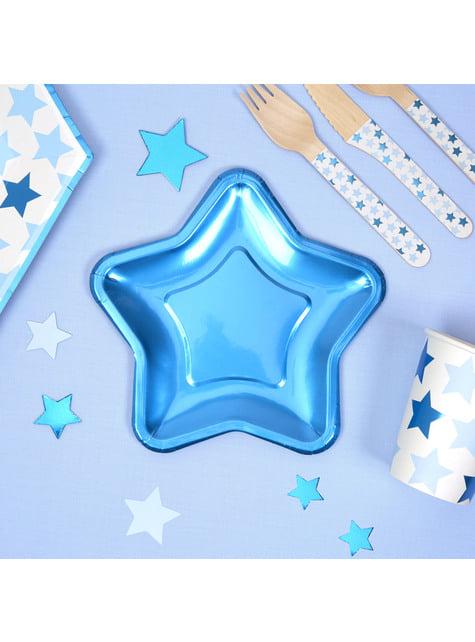 8 platos con forma de estrella azul (12,5 cm) - Blue Star