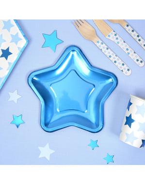 Sada 8 papírových talířů ve tvaru modré hvězdy - Little Star Blue