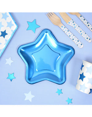 8 blauwe stervormige papieren borde (12,5 cm) - Kleine Blauwe Ster