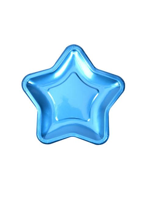 8 platos con forma de estrella azul (12,5 cm) - Blue Star - para tus fiestas