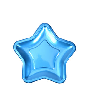 Set of 8 blue star shaped paper plates - Little Star Blue