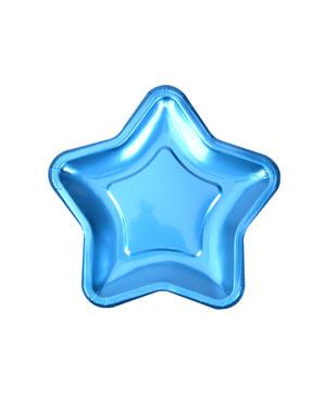 8 blå stjerneformede papirtallerkne (12,5 cm) - Little Star Blue