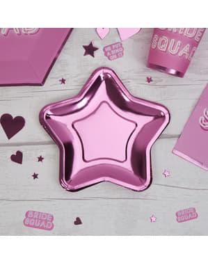 Sada 8 rúžových papierových tanierov v tvare hviezdy - Little Star Pink