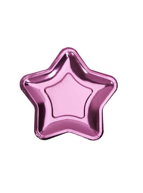 Sett af 8 bleikum stjörnumerkum pappírsplötum - Little Star Pink