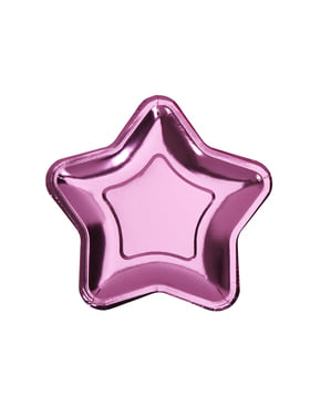 8 assiettes en forme d'étoile rose en carton - Little Star Pink