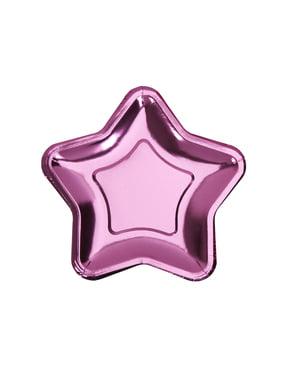 Sada 8 papírových talířů ve tvaru růžové hvězdy - Little Star Pink