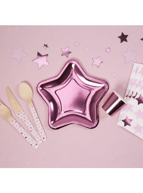 8 platos con forma de estrella rosa (12,5 cm) - Pink Star - barato