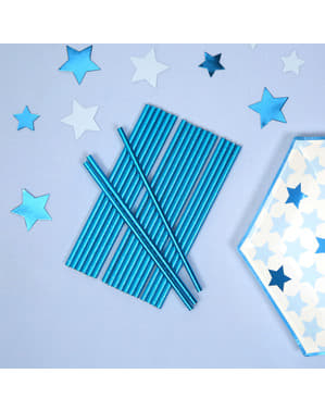 25 palhinhas azuis de papel - Little Star Blue