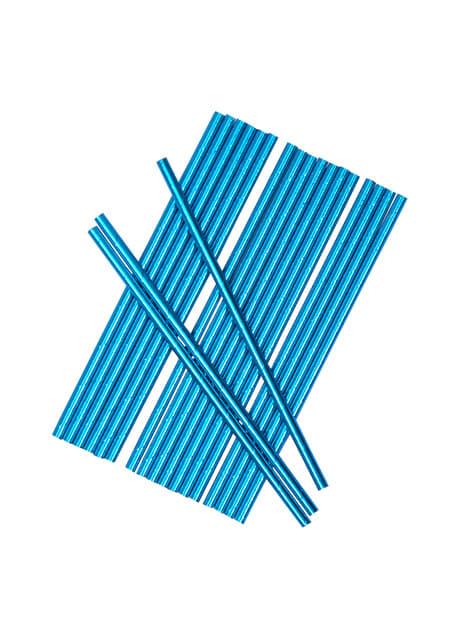 25 pajitas azules - Blue Star - para tus fiestas