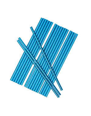 25 pailles bleus en carton - Little Star Blue