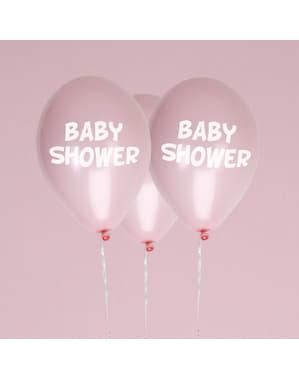 """Pembe 8 """"Bebek Duş"""" lateks balonlar Set - Küçük Yıldız Pembe"""