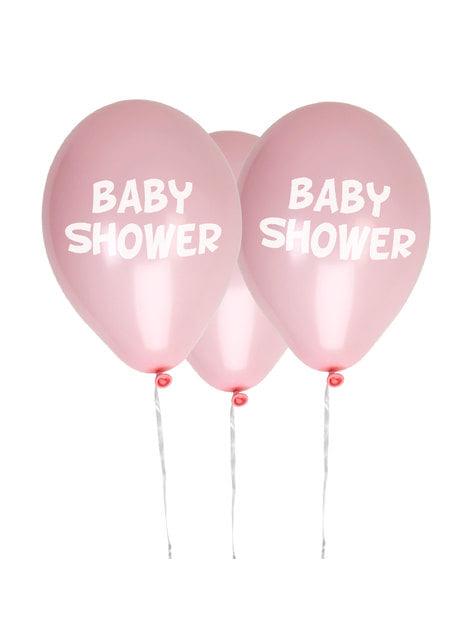 8 globos rosas Baby Shower(30 cm) - Pink Star