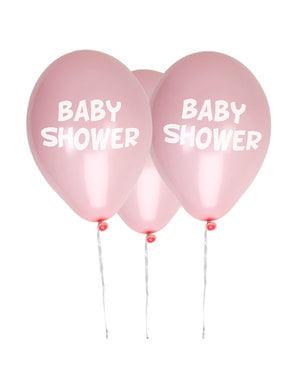 """8 pinkkiä """"Baby Shower"""" lateksi-ilmapalloa – Little Star Pink"""