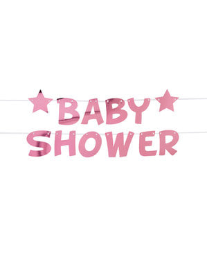 "Różowa girlanda ""Baby Shower"" - Little Star Pink"