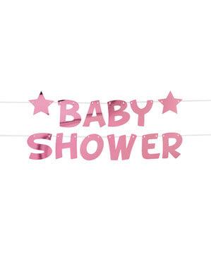 שלט קיר גוון ורוד Baby Shower של  Pink Star